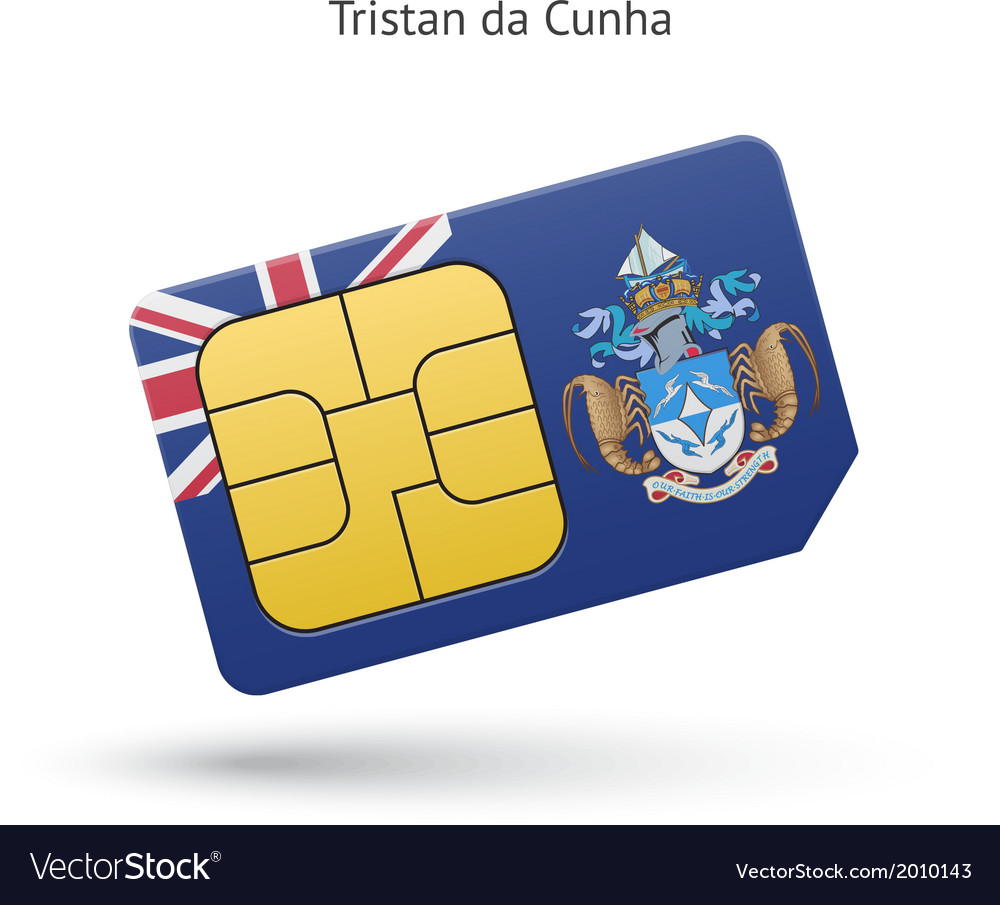 Tristan da cunha mobile phone sim card with flag vector | Price: 1 Credit (USD $1)