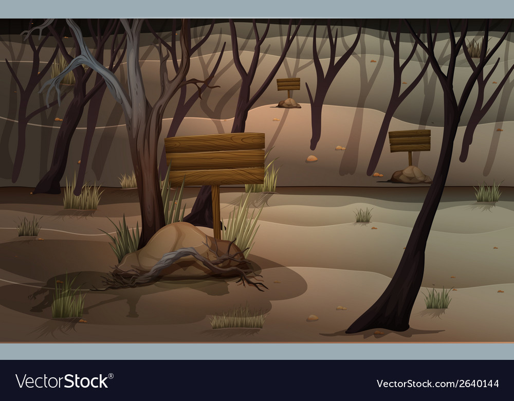 A forest with empty signboards vector | Price: 3 Credit (USD $3)