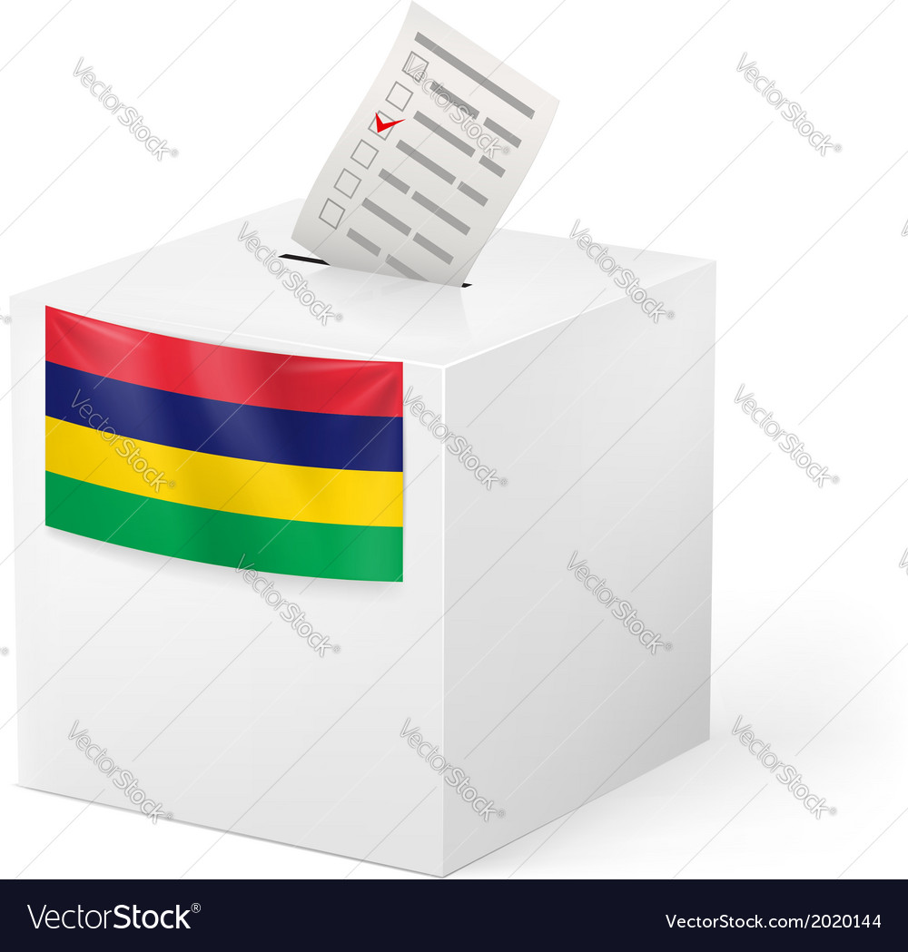 Ballot box with voting paper mauritius vector | Price: 1 Credit (USD $1)