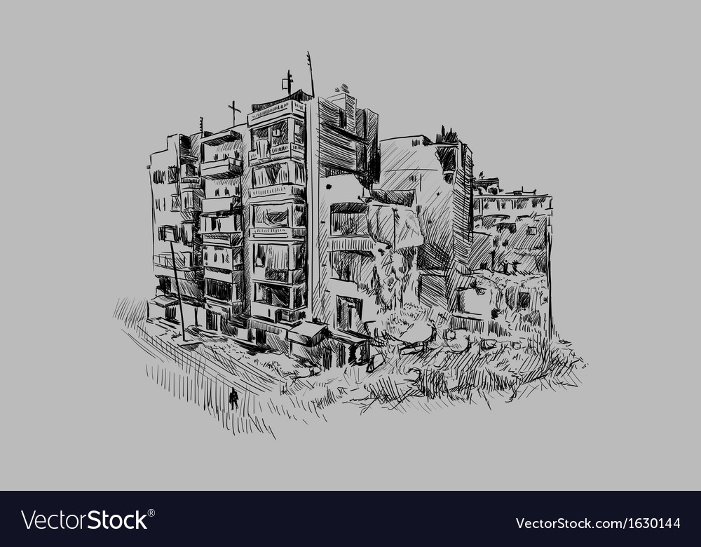 Destroyed building vector | Price: 1 Credit (USD $1)