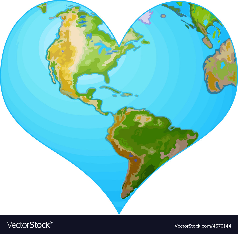 Earth heart vector | Price: 3 Credit (USD $3)
