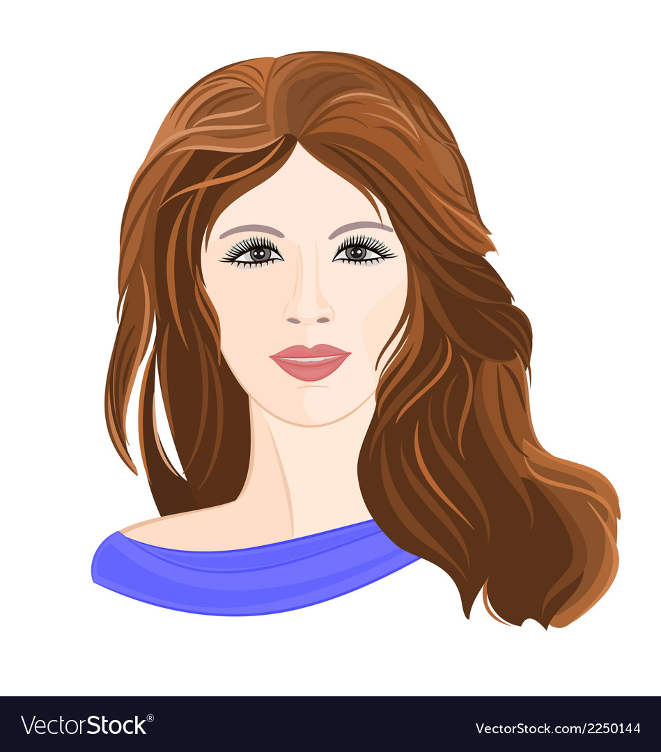 Girl young brown hair vector | Price: 1 Credit (USD $1)