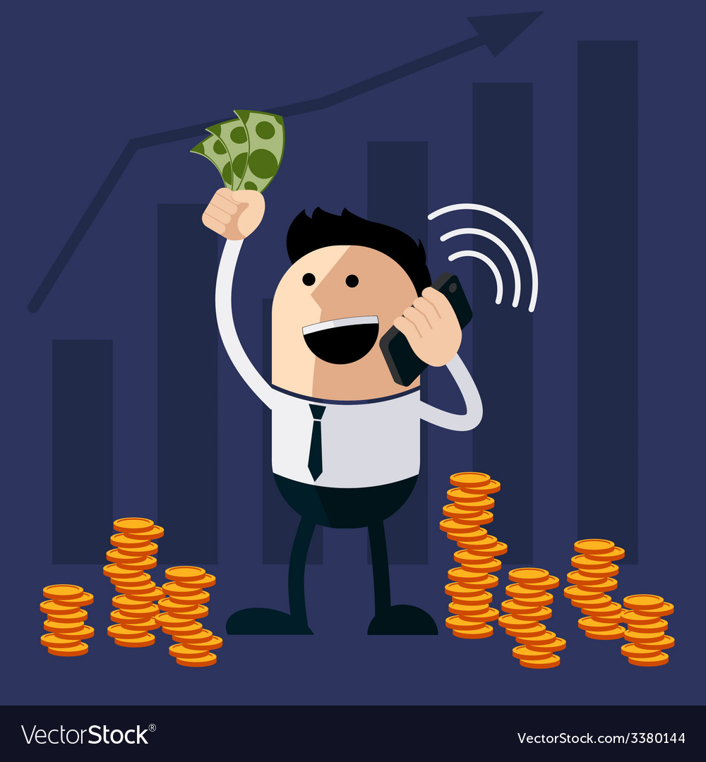 Happy man holding money and phone vector | Price: 1 Credit (USD $1)
