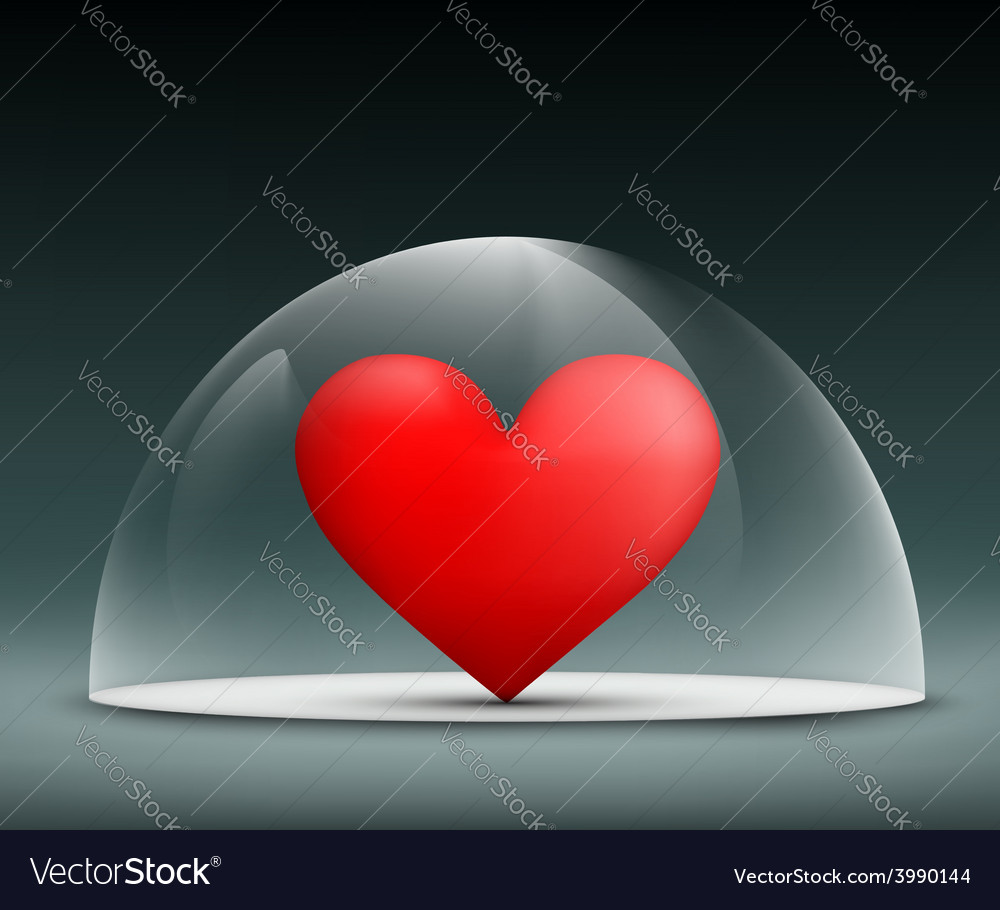 Human heart under a glass dome vector | Price: 1 Credit (USD $1)