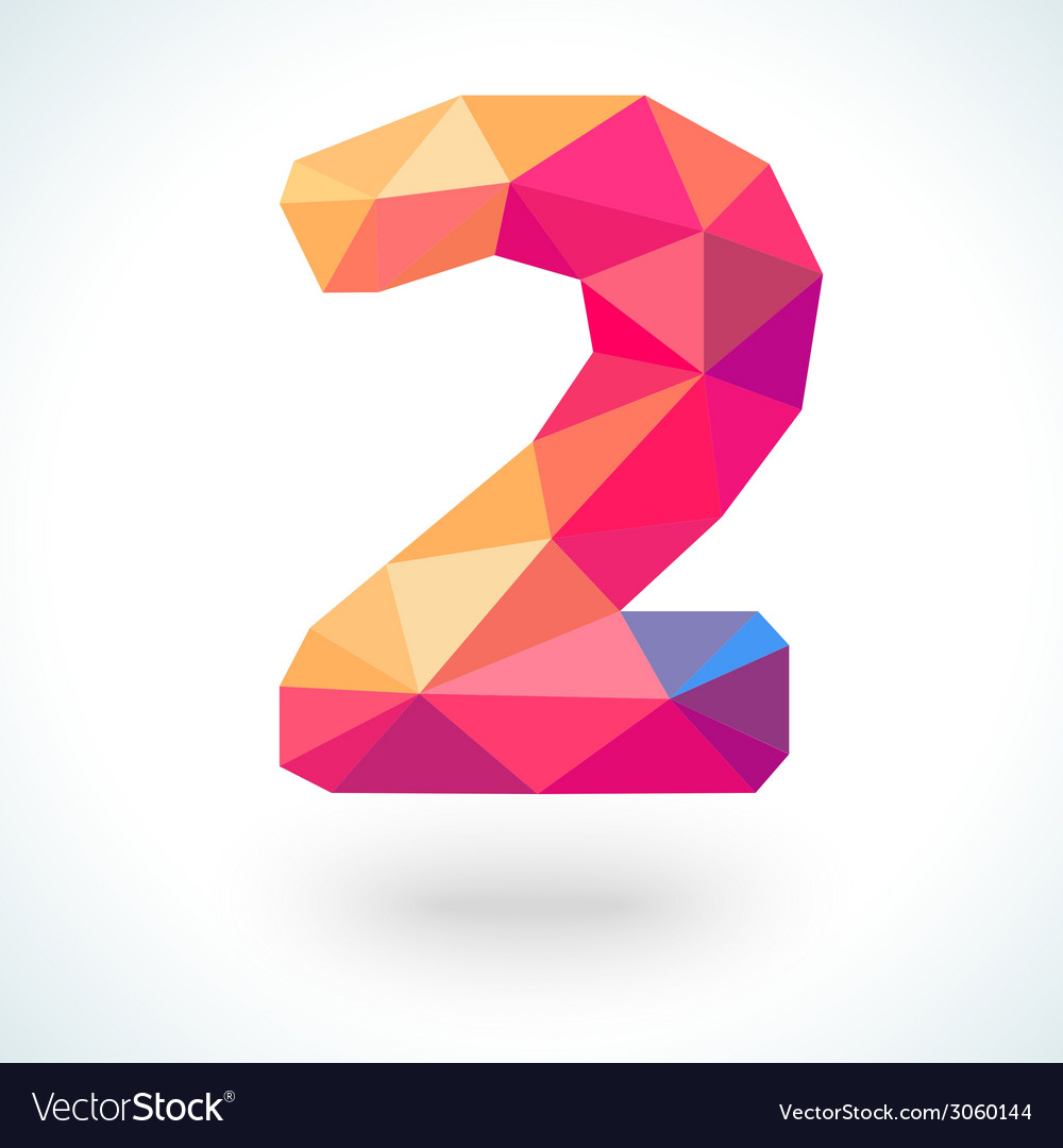 Number two in modern polygonal crystal style vector | Price: 1 Credit (USD $1)