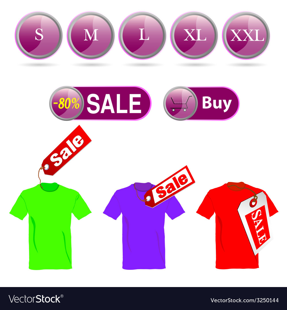 Selling off t-shirt and sizes vector | Price: 1 Credit (USD $1)