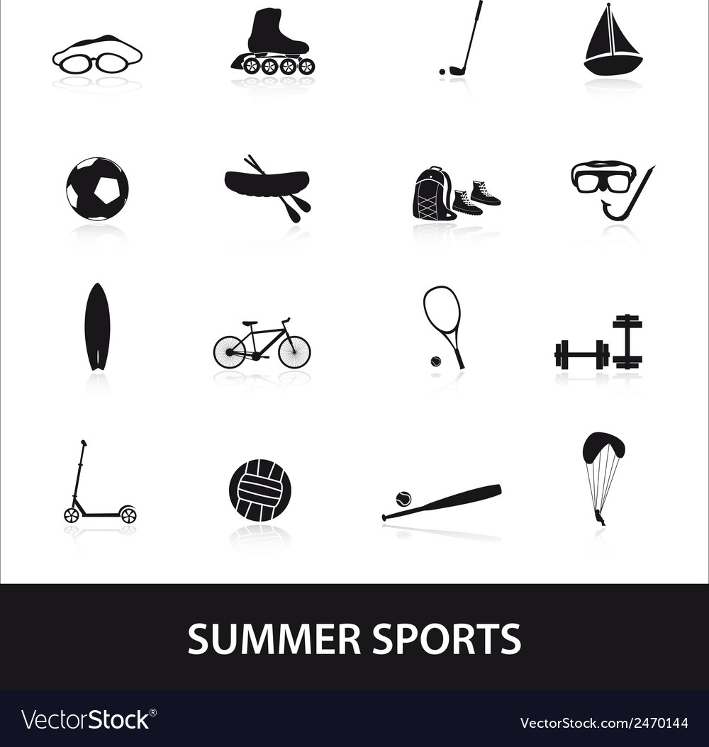 Summer sports and equipment icon set eps10 vector | Price: 1 Credit (USD $1)