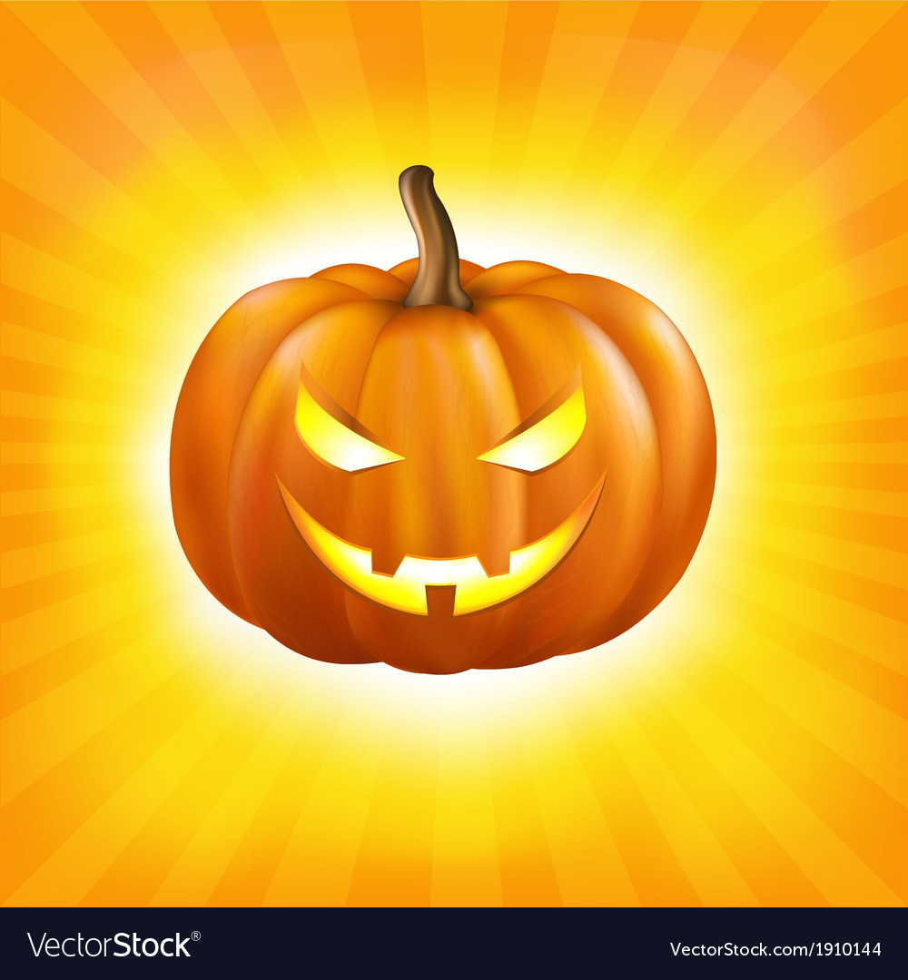 Sunburst background with pumpkin vector | Price: 1 Credit (USD $1)
