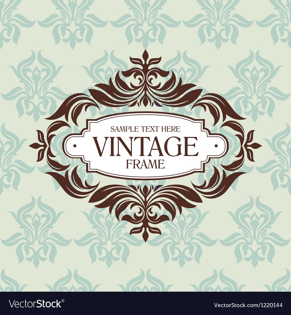 Vintage floral retro frame vector | Price: 1 Credit (USD $1)