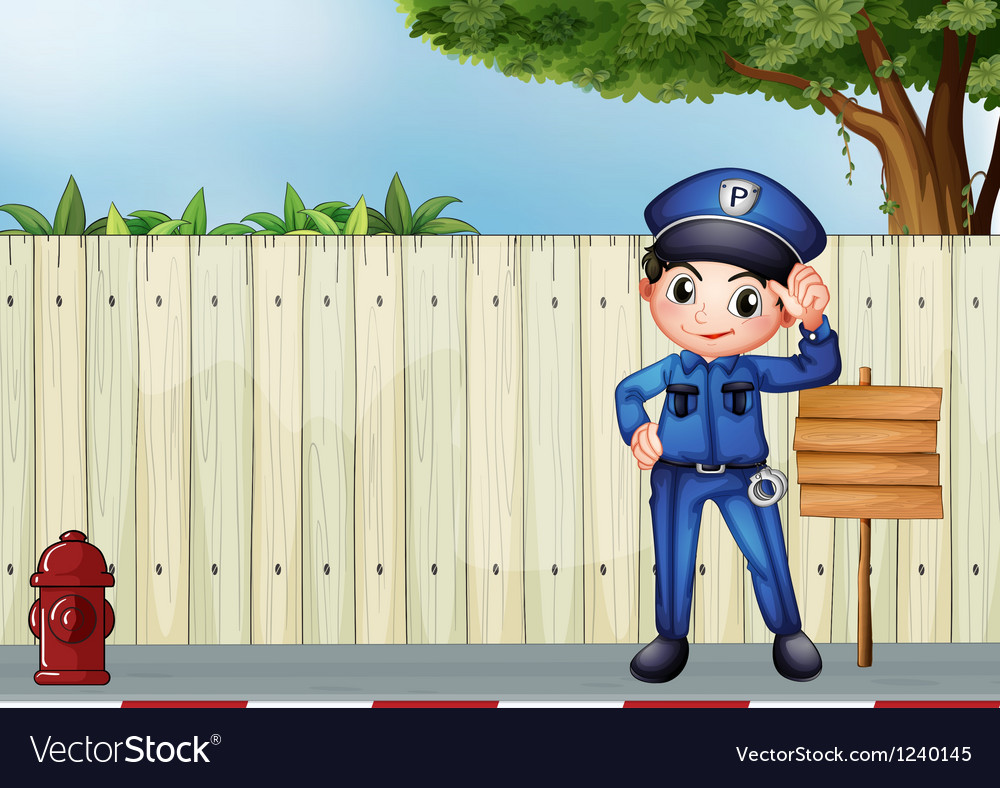 A police officer beside an empty wooden signage vector | Price: 1 Credit (USD $1)