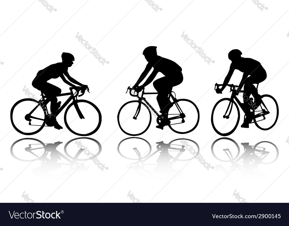 Bicyclists silhouettes vector | Price: 1 Credit (USD $1)