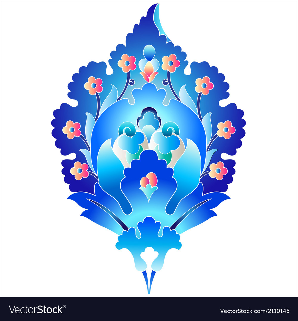 Blue oriental ottoman design forty six vector | Price: 1 Credit (USD $1)