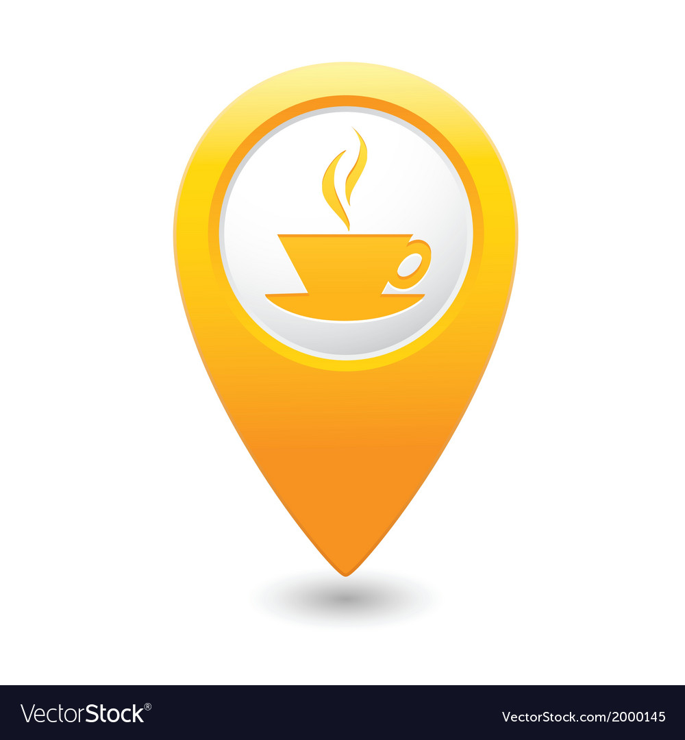 Cafe icon yellow map pointer vector | Price: 1 Credit (USD $1)