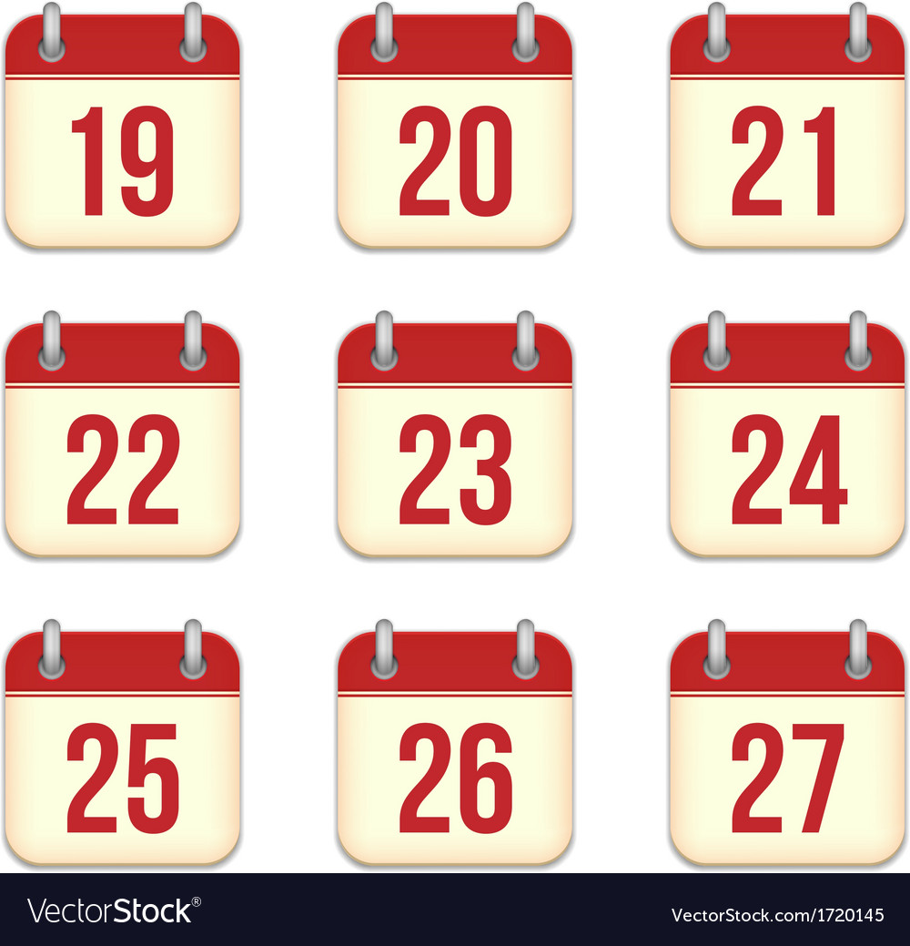 Calendar app icons 19 to 27 days vector | Price: 1 Credit (USD $1)