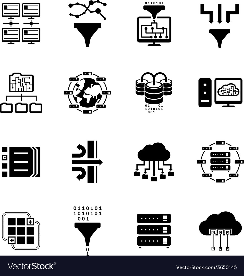Data filter and data transfer icons vector | Price: 1 Credit (USD $1)