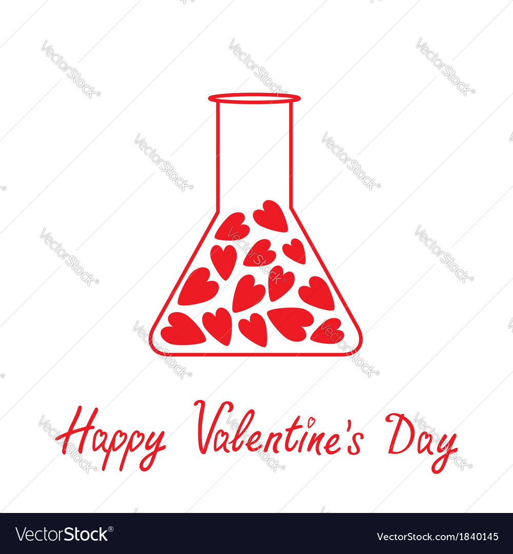 Love laboratory glass with hearts valentines day vector | Price: 1 Credit (USD $1)