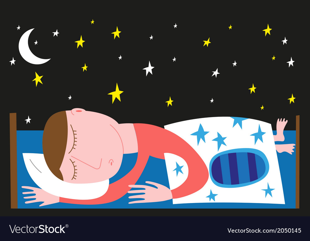 Man dreaming in bed vector | Price: 1 Credit (USD $1)