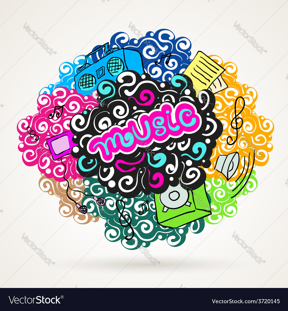 Music graffiti modern ornament element vector | Price: 1 Credit (USD $1)
