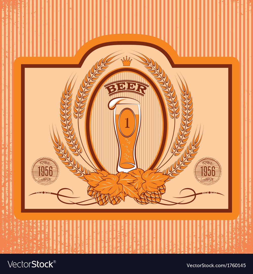 Oval label with a glass of beer vector   Price: 1 Credit (USD $1)