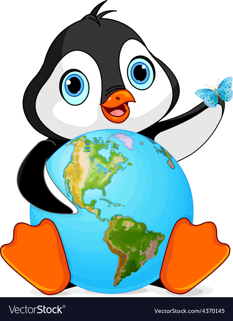 Penguin earth day vector | Price: 3 Credit (USD $3)