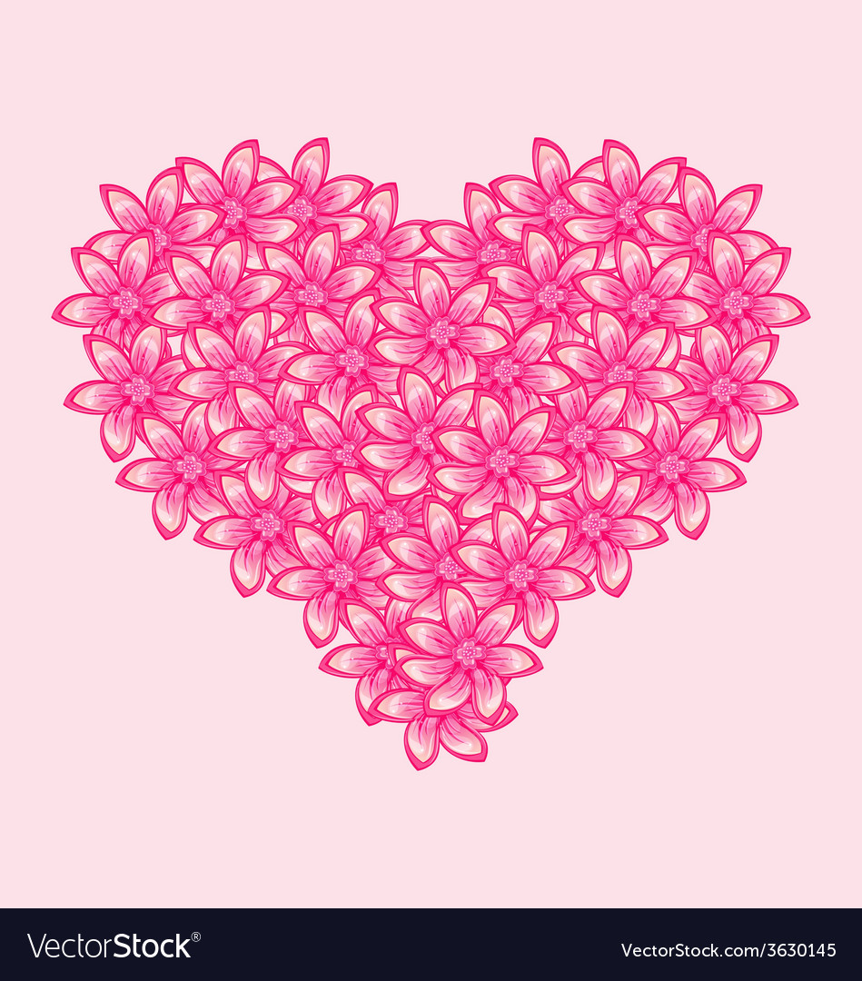 Romantic heart made of pink flowers for valentine vector | Price: 1 Credit (USD $1)