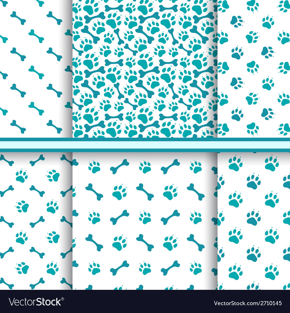 Seamless cat animal patterns of paw footprint vector | Price: 1 Credit (USD $1)