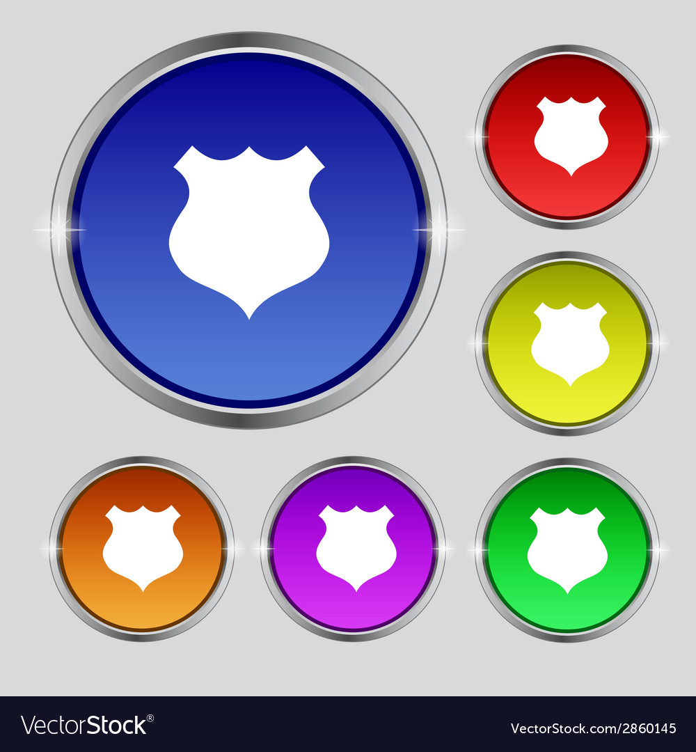 Shield sign icon protection symbol set colourful vector   Price: 1 Credit (USD $1)