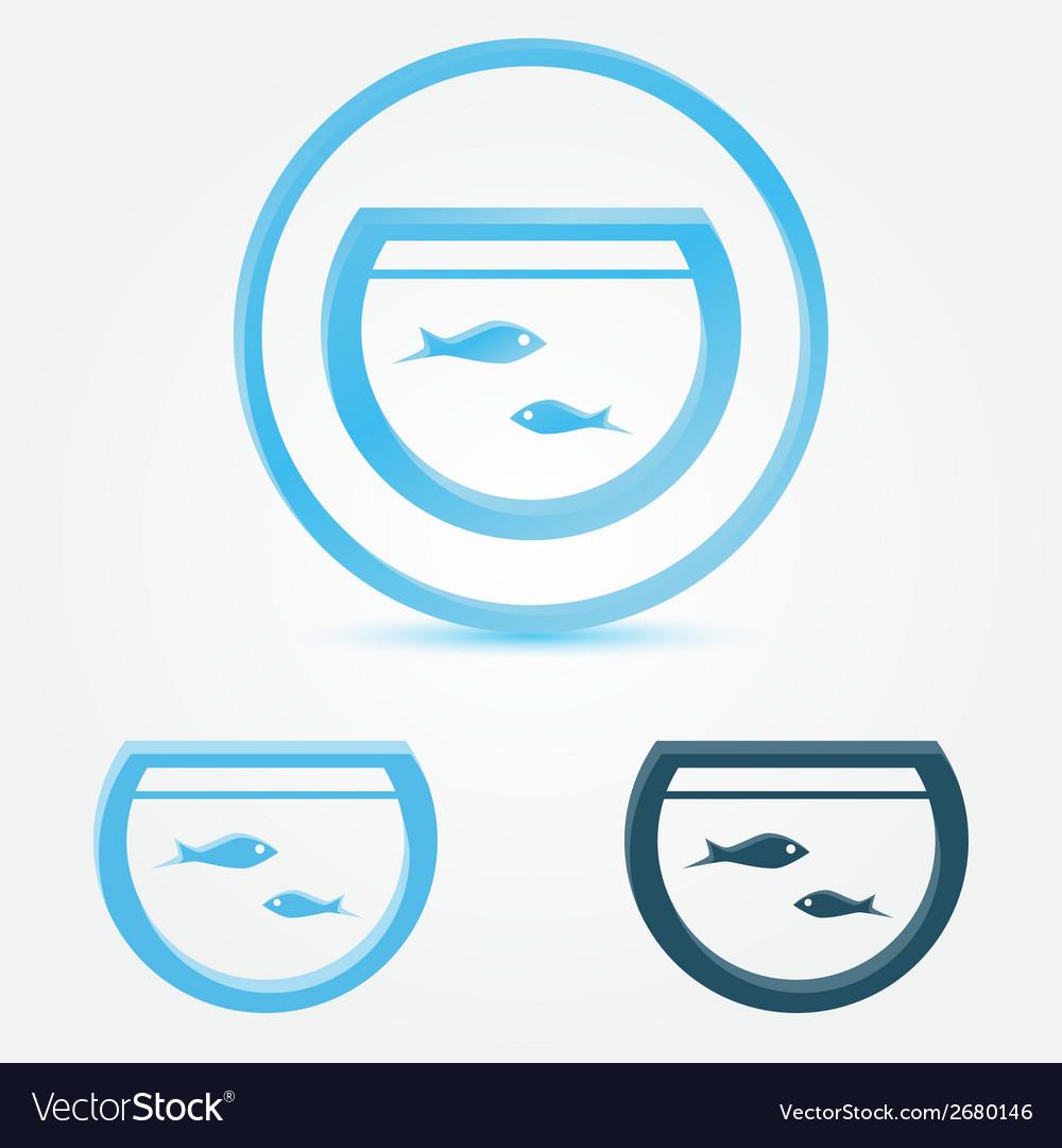 Aquarium fish tank icon with a fish vector | Price: 1 Credit (USD $1)
