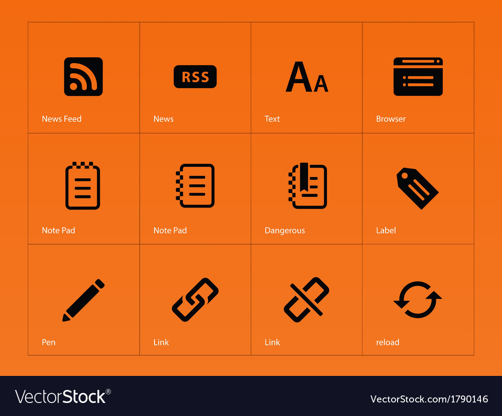 Blogger icons on orange background vector | Price: 1 Credit (USD $1)