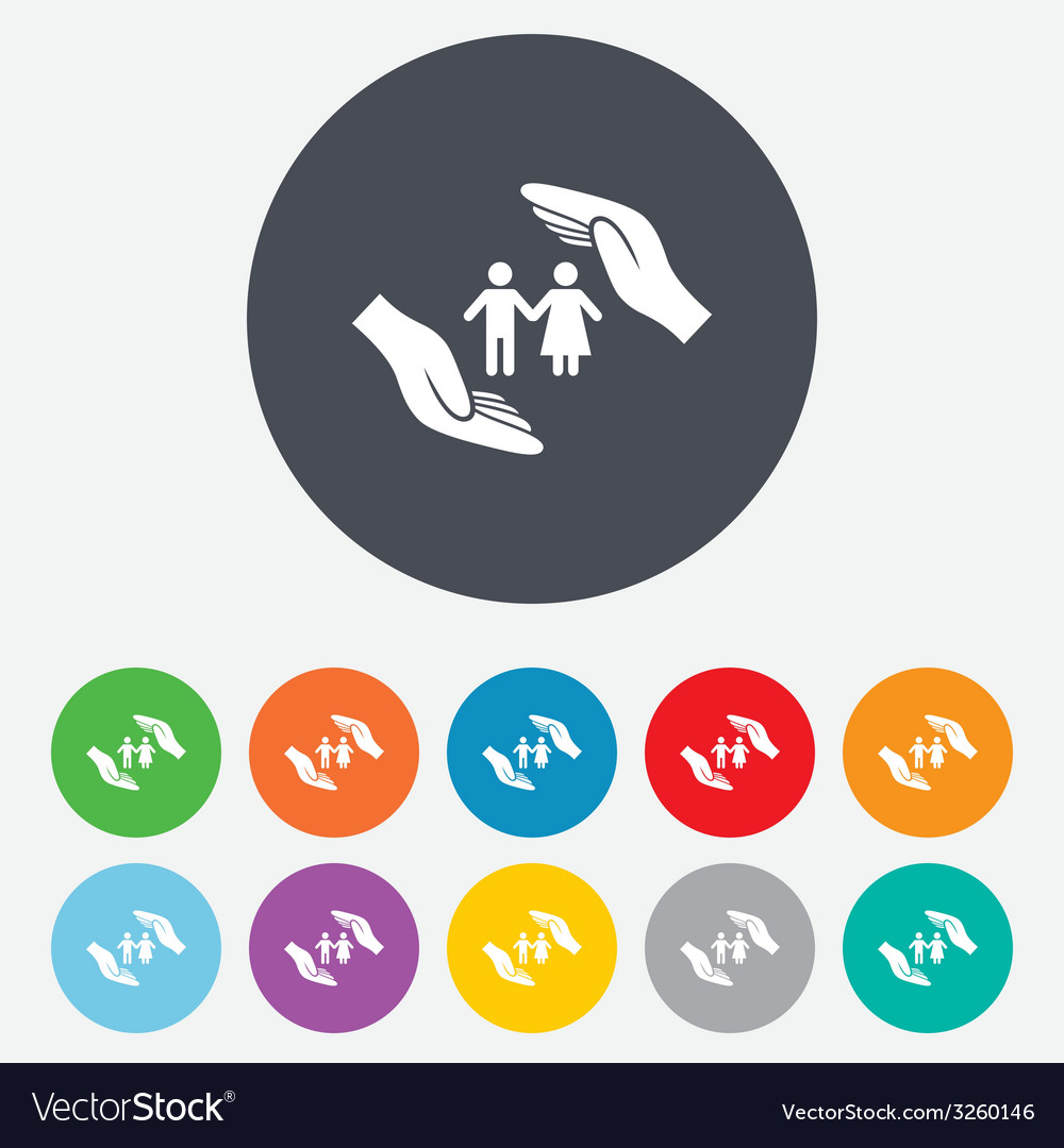 Couple life insurance sign icon hands protect vector | Price: 1 Credit (USD $1)