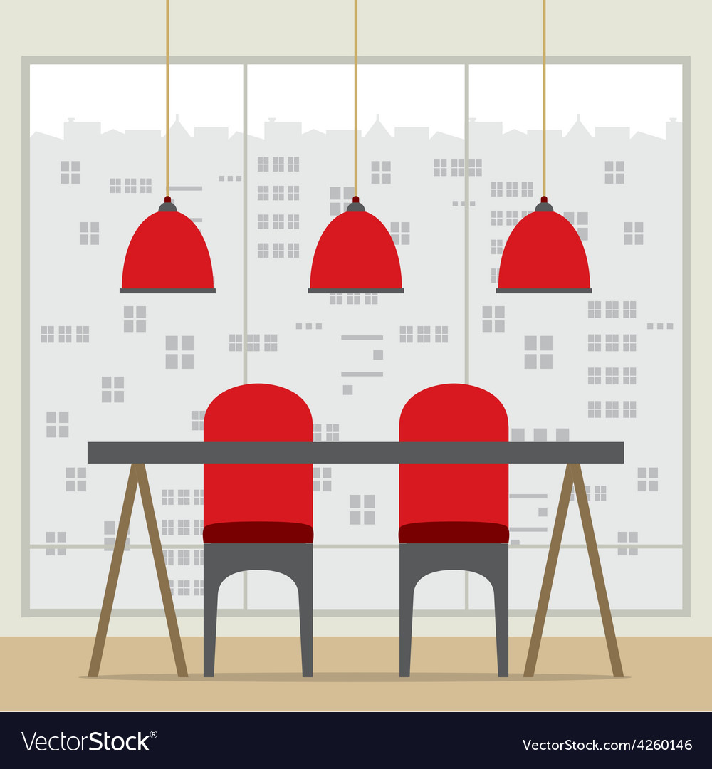 Flat design chairs and table vector | Price: 1 Credit (USD $1)
