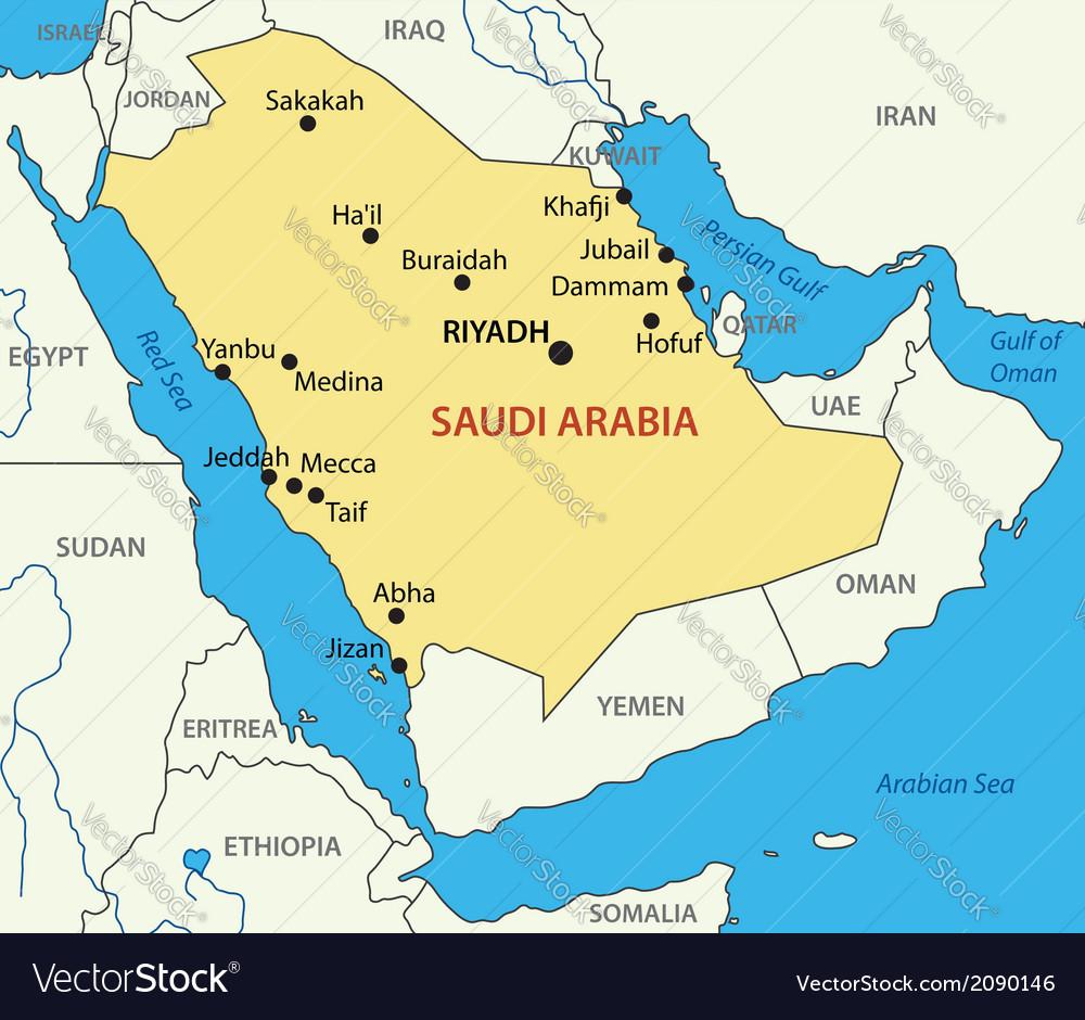 Kingdom of saudi arabia - map vector | Price: 1 Credit (USD $1)
