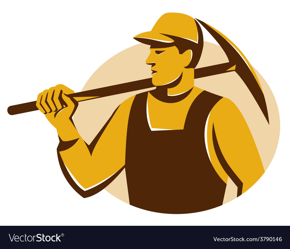 Miner worker with pick ax retro vector | Price: 1 Credit (USD $1)