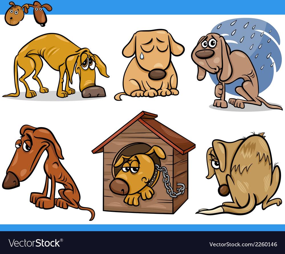 Sad stray dogs cartoon set vector   Price: 1 Credit (USD $1)