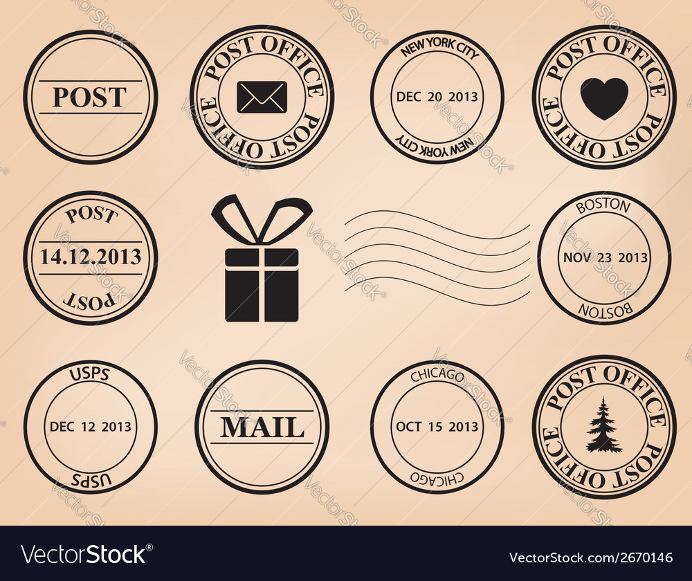 Set - post stamps vector | Price: 1 Credit (USD $1)