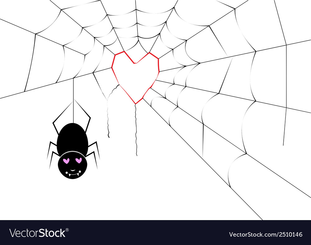 Spider making a heart web vector | Price: 1 Credit (USD $1)