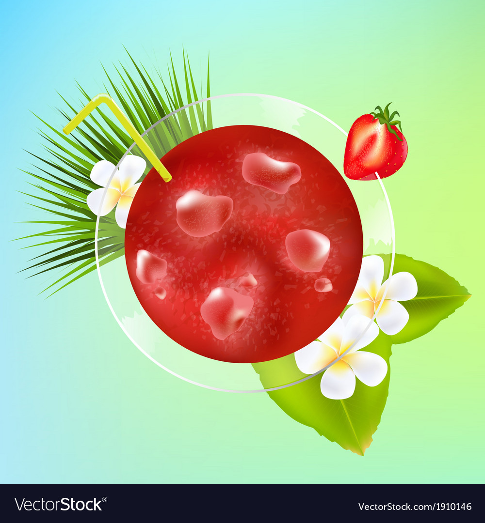 Strawberry cocktail with ice and plumeria vector | Price: 1 Credit (USD $1)
