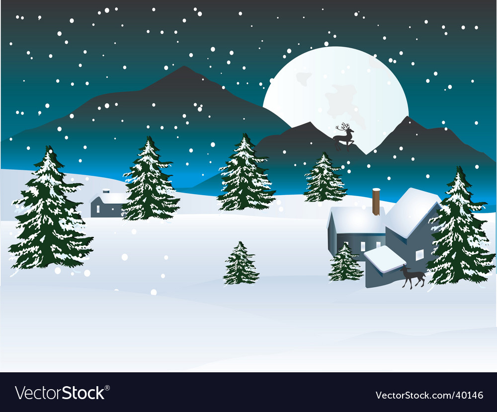 Winter moon vector | Price: 1 Credit (USD $1)