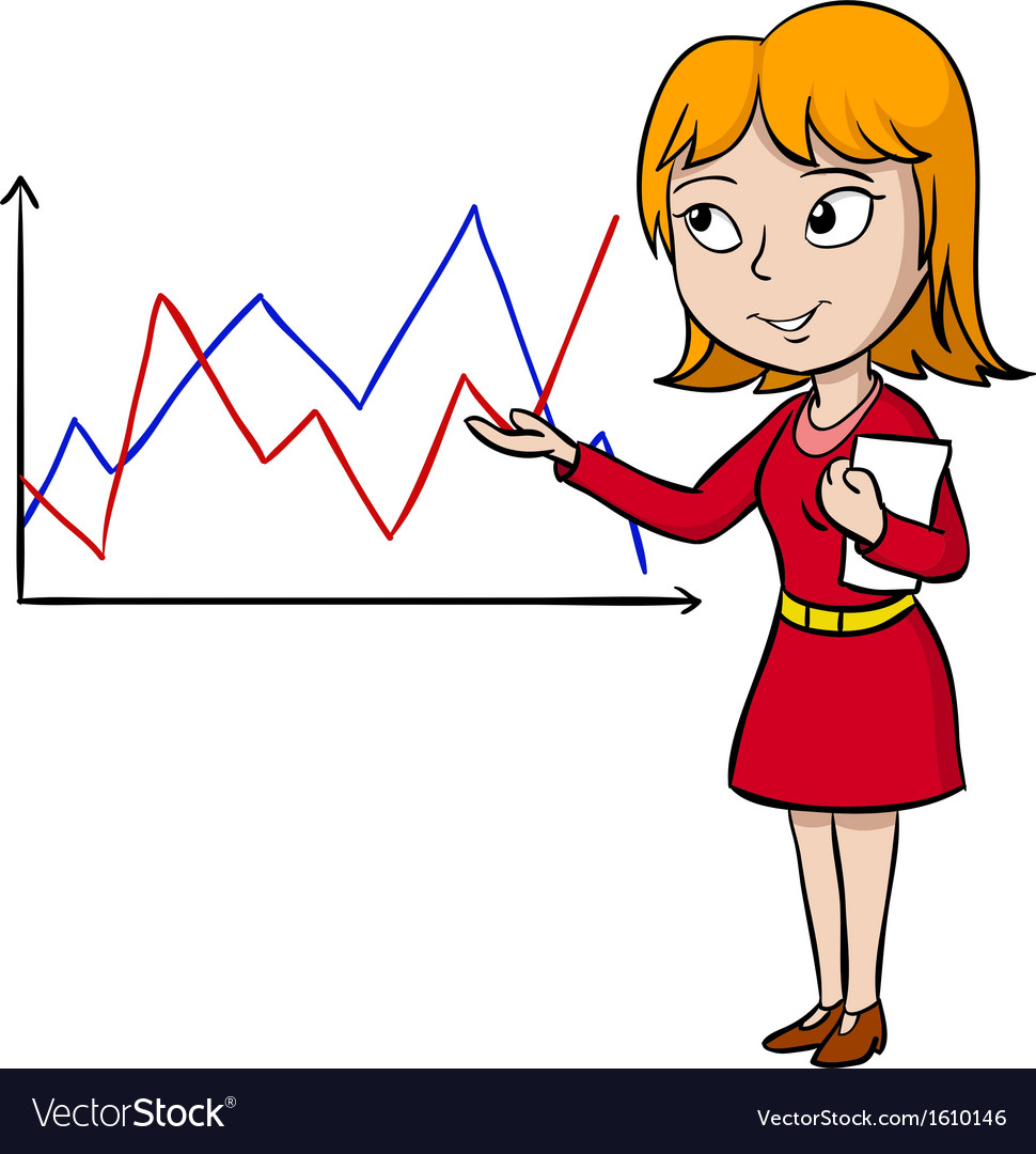 Woman in red dress present graph vector | Price: 1 Credit (USD $1)