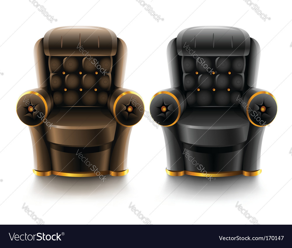 Brown and black leather armchairs vector | Price: 1 Credit (USD $1)