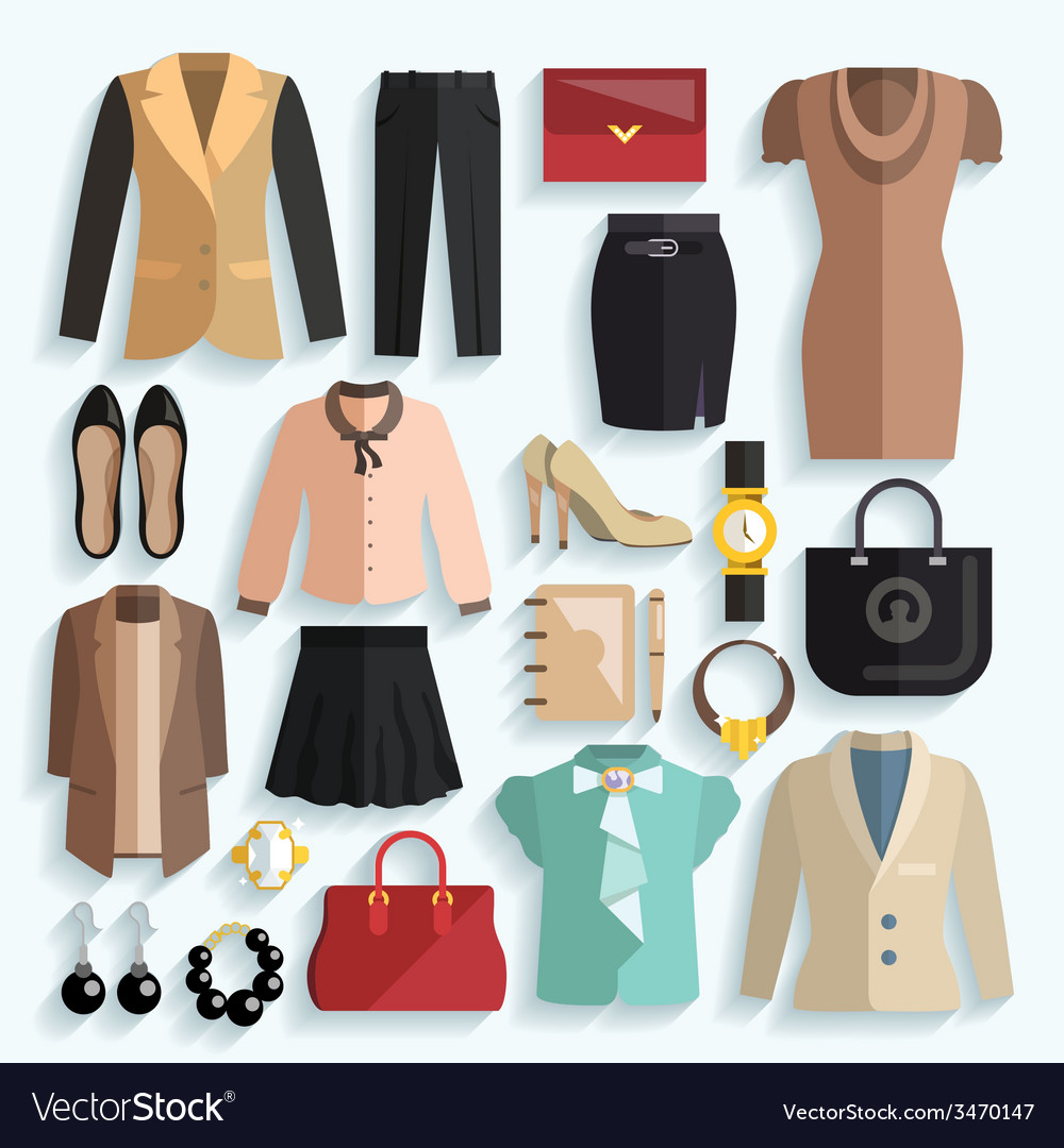 Businesswoman clothes icons vector | Price: 1 Credit (USD $1)