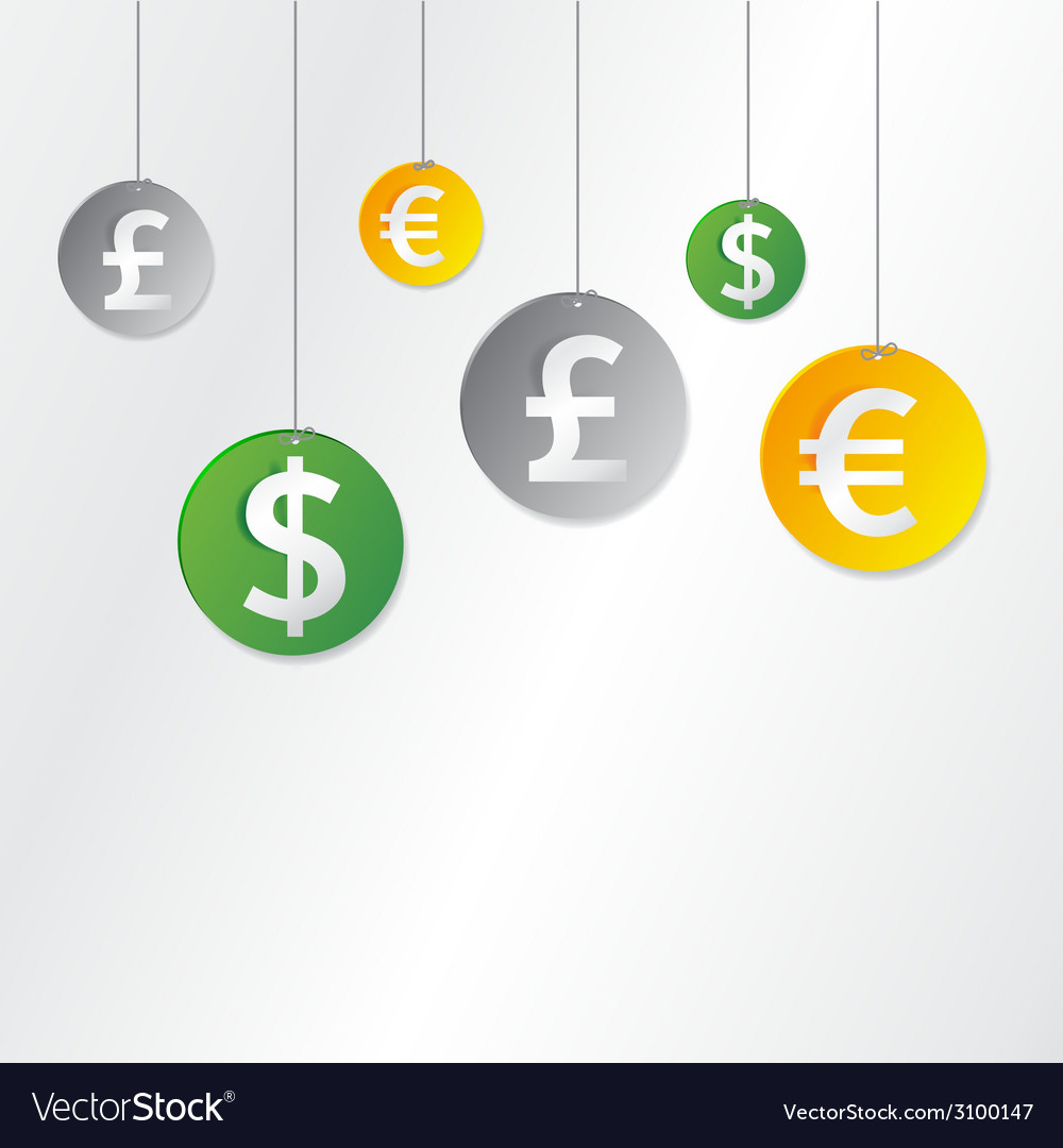 Hanging currency signs vector | Price: 1 Credit (USD $1)