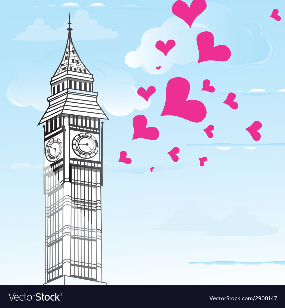 I love you london poster design and valentine hear vector | Price: 1 Credit (USD $1)