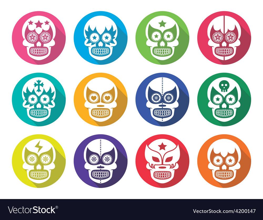 Lucha libre - mexican sugar skull flat design vector | Price: 1 Credit (USD $1)
