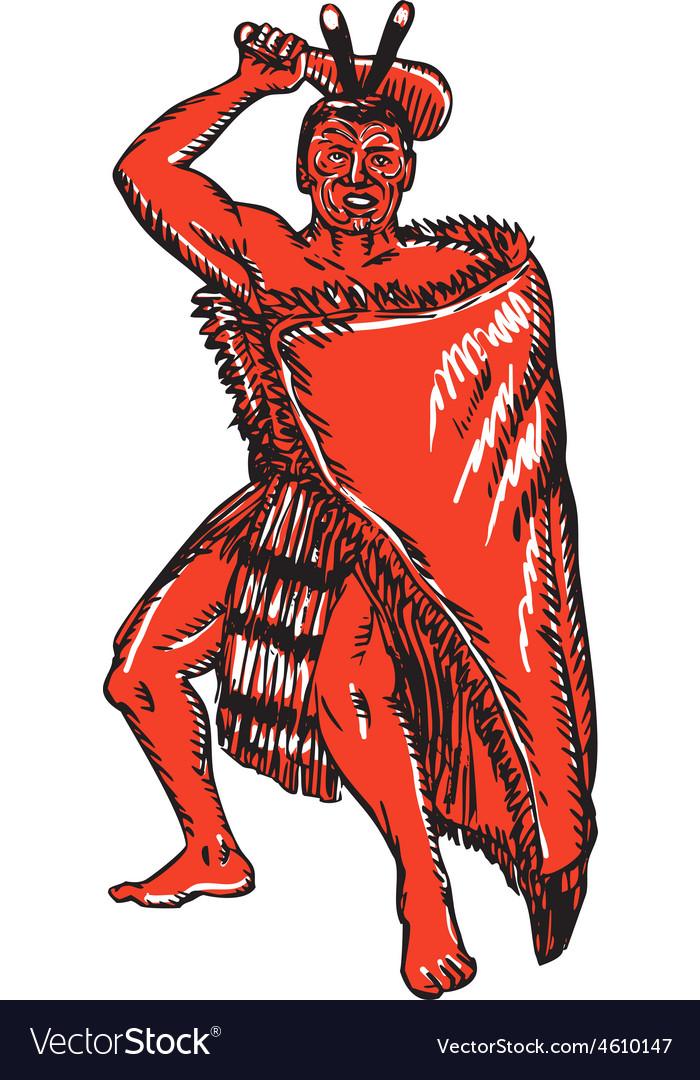 Maori chief warrior holding patu etching vector | Price: 1 Credit (USD $1)