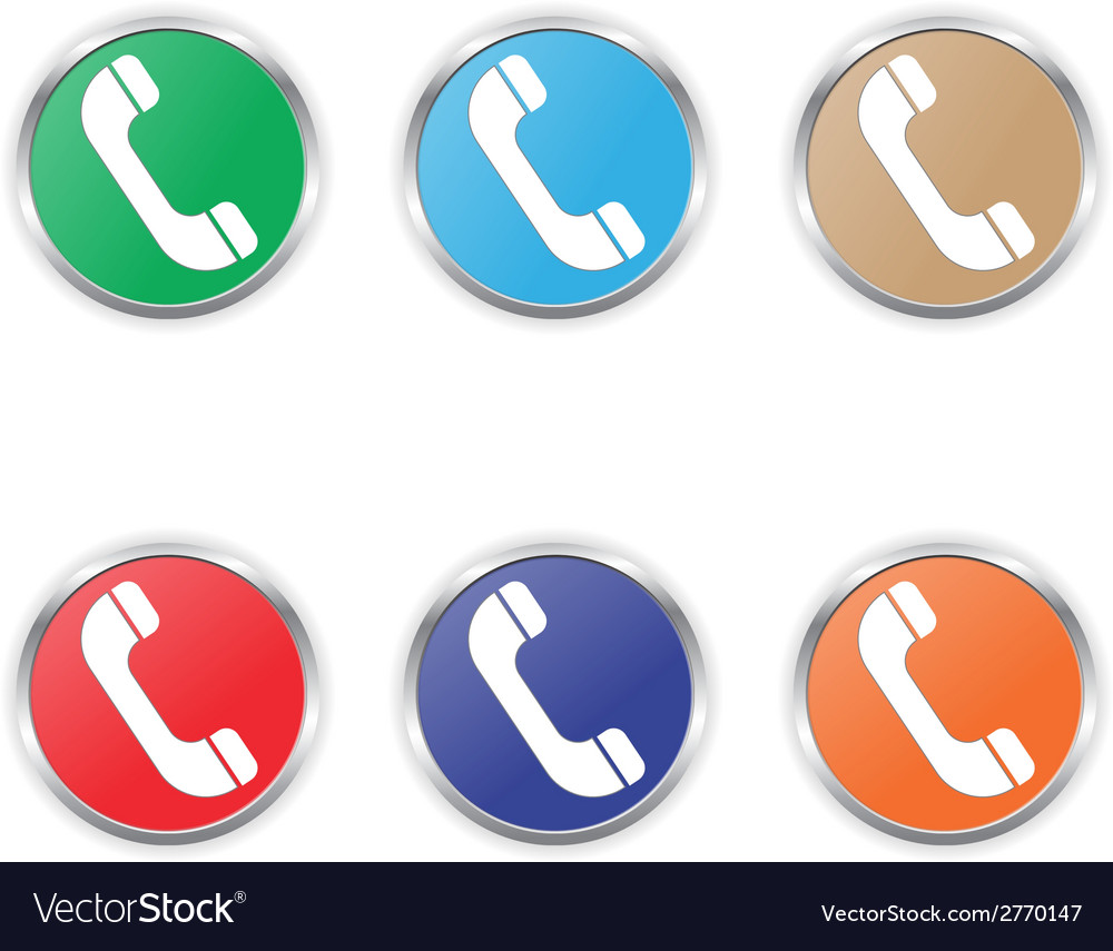 Phone icon color set vector | Price: 1 Credit (USD $1)