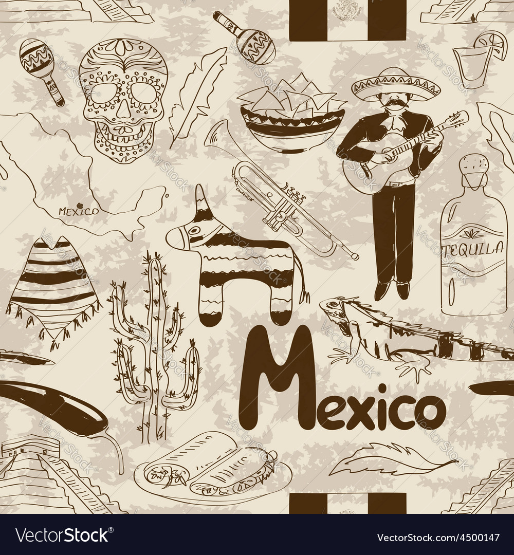 Sketch mexico seamless pattern vector | Price: 1 Credit (USD $1)