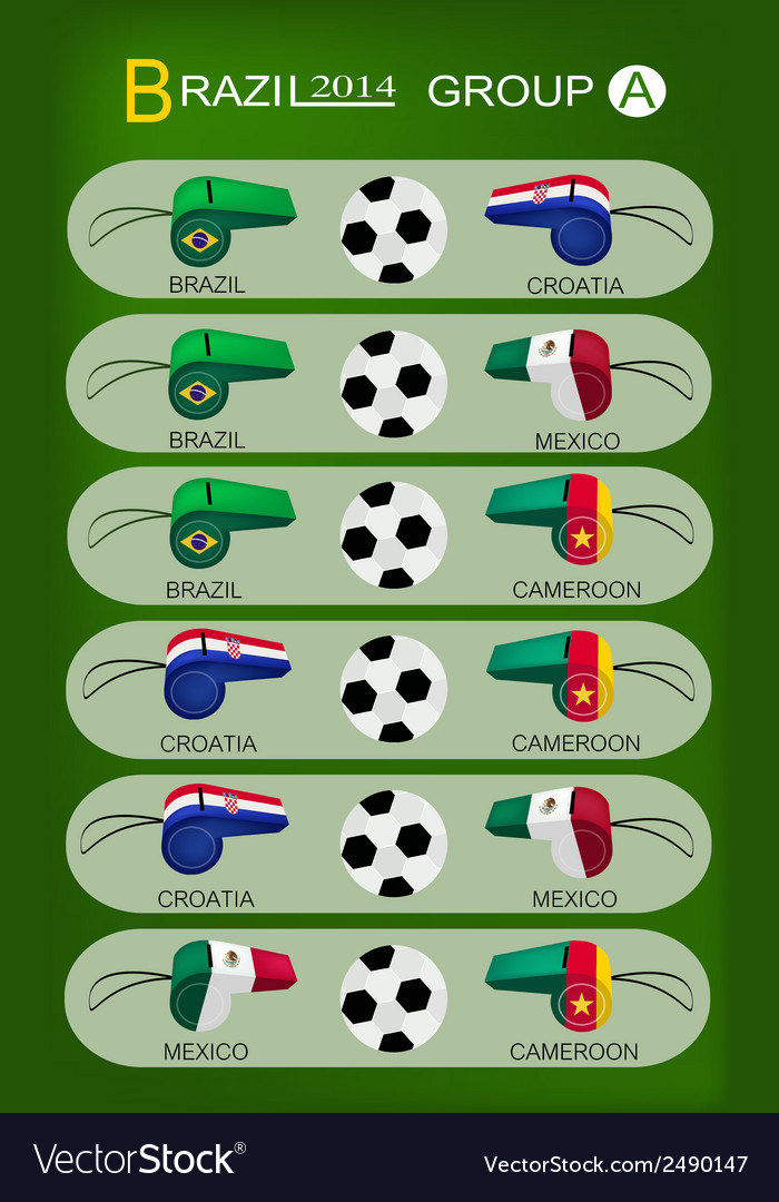 Soccer tournament of brazil 2014 group a vector | Price: 1 Credit (USD $1)
