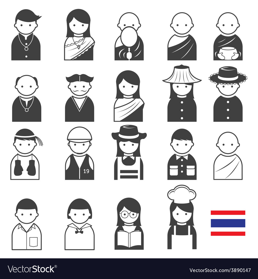 Various thai people occupation character icons set vector | Price: 1 Credit (USD $1)