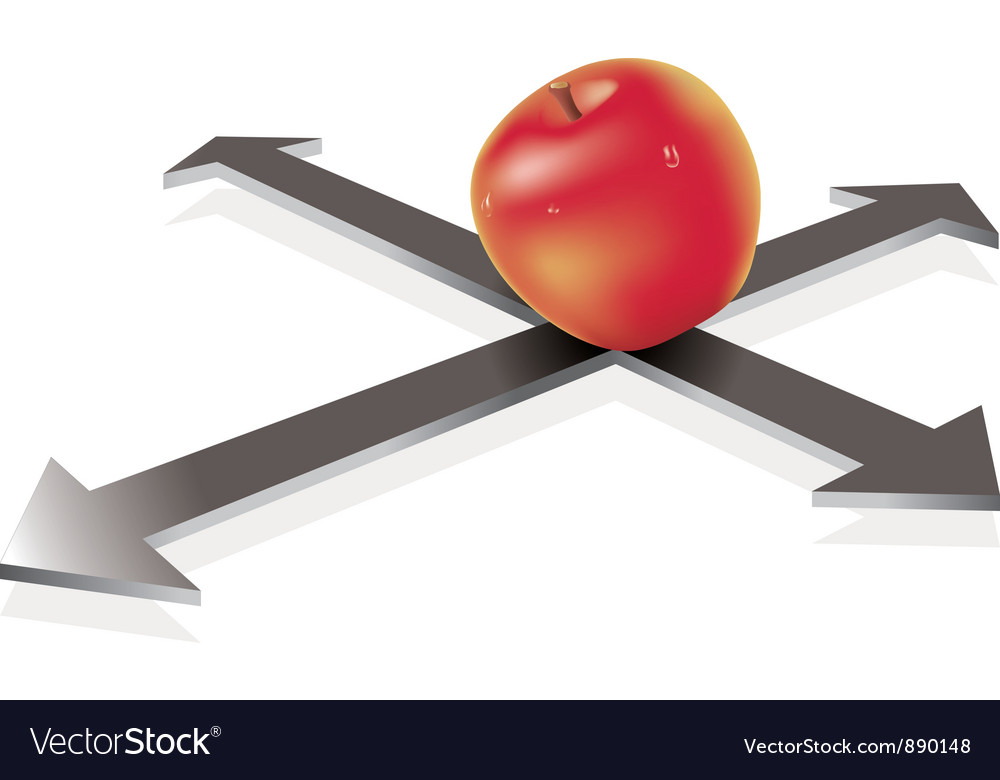 Apple on the crossroad vector | Price: 1 Credit (USD $1)
